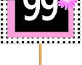 Happy 99th Birthday Pink w. Black Polka Dot Novelty Cupcake Decoration Topper Picks -12ct