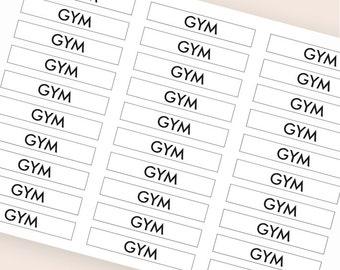 30 black gym stickers, header stickers, transparent stickers, clear planner stickers, fitness sticker eclp filofax happy planner kikkik