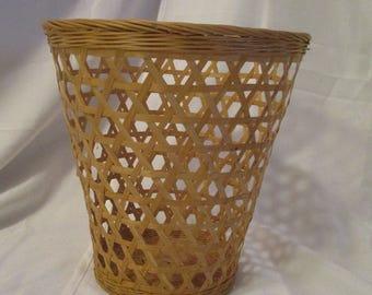 Vintage Wicker basket trash receptacle