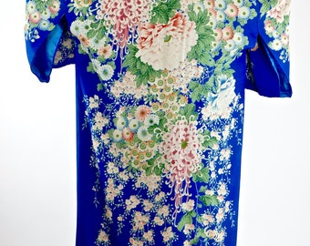 Incredibly Beautiful Antique Fine Royal Blue Silk Cascading Oriental Florals Ankle Length Kimono Robe