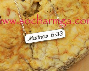 Bible Verse Necklace, Bible Verse Bar Necklace, Custom Scripture Necklace,   Any Verse you Want!    Made In USA