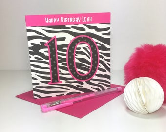 Personalised Zebra Print Birthday Card - GC010