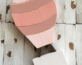 Hot air balloon (pink stripes) wood sign