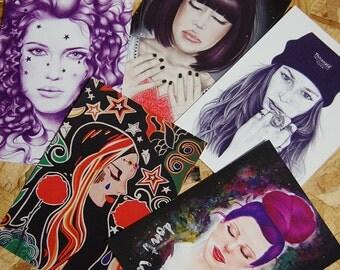 Fashion Illustration Printed Postcard Mix