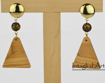 Clip-on handmade Italian Olive wood and tiger eye beads earrings, hypoallergenic