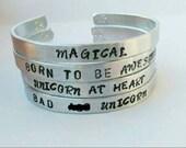 Unicorn bracelet - Unicorn Jewelry - unicorn gift - badass unicorn - stackable bracelets - bracelet set - handstamped jewelry