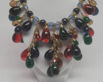 Acessocraft glass beaded necklace & earrings set