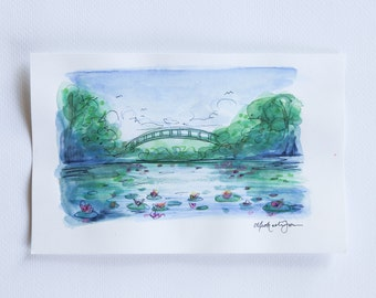 small mixed media painting of bridge and lily pads