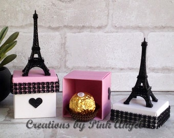 Set of 6 or 12 Small Paris Birthday Favors, Pink and Black Paris Baby Shower Favors, Paris Wedding Favors, Small Paris Eiffel Tower Favors