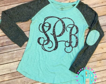 Glittery Pretty Patch Tee | Glitter Monogram Tee | Elbow Patch Tee | Bright Color Tee with Monogram | Long Sleeve Monogram Shirt | Glitter