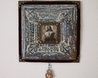 Sacred Heart ofJesus Rustic Wall Art Antique Ceiling Tile Milagro Ex Voto Catholic Decor and Gifts