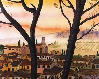 """Art Print: """"Serenissimo"""" - A3 limited edition Italian landscape print, wall art, tree painting, from an original painting by Liz Clarke"""