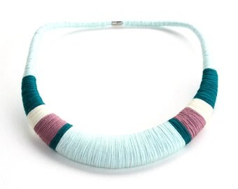 Light blue, Blue necklace, Lilac necklace, Teal necklace, tribal necklace, tribal jewelry, fashion jewelry, textile necklace, colorful