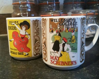 """A pair of vintage 1960's French MONOPOLI """"Folies Bergére/Wellesley College"""" mugs!!! (Ask for International postage)"""