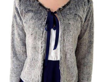 Faux rabbit fur open cardigan