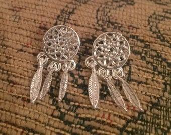 Dream catcher silver earrings