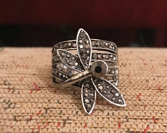 Dragonfly black silver ring size p us 7 1/2