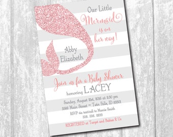 Mermaid Baby Shower Invitation printable/Digital File/pink and gray, glitter, little mermaid, pink glitter, under sea/wording can be changed