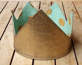 Gold denim, reversible kids dress-up party crown (aqua with glitter spots)