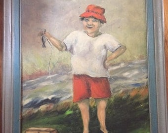Vintage Original Painting of Fisherman with Tiny Fish
