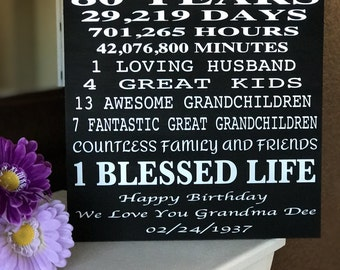 80 Year Old Birthday Wood Sign... Can Be Customized To Any Age !!!  A Perfect Gift !!!!