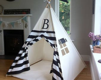 Striped Teepee with monogram. Poles included! Made in Ireland and shipped worldwide