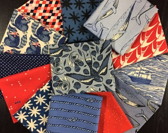 S.S. Bluebird - Cotton and Steel Fabrics -  Curated Fabric Bundle featuring S.S. Bluebird - 13 Fat Quarters