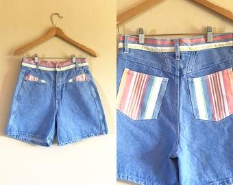 Vintage Striped Denim Shorts, Vintage Good Fellows High Waist Striped Denim Shorts
