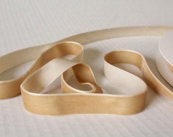 5/8 inch Beige Velvet Ribbon /  Beige Velvet /   VRNA58-142