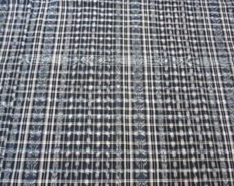 "Guatemalan Frabric Vintage 152"" x 39"" Ikat Dyed Blue,  white,  Textile Skirt_Corte for Huipil"