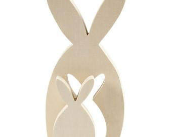 Rabbits Freestanding wooden - Ready to decorate and personalise