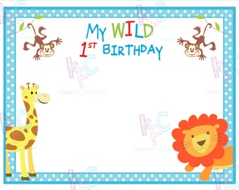 Wild First Birthday Jungle Themed DIY Printable Blank Table Tent Signs Folded Size 4.25x5.5 inches {INSTANT DOWNLOAD}