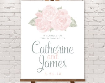 Blush Wedding Welcome Sign / Blush Rose, Blush and Gray, Watercolor Roses, Neutral Wedding ▷ Printable File {or} Printed & Shipped