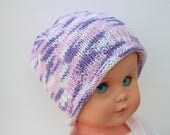 Purple Baby Hat Pink Baby Beanie Pink Baby Hat Fairisle Baby Hat Soft Baby Hat Cotton Baby Hat Pretty Baby Hat Baby Girl Hat Hand Knit Hat
