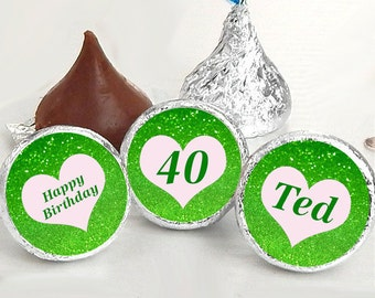 108 hershey kiss stickers green glitter birthday wedding sorority kiss labels wedding favors glitter stickers