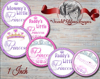Princess Bottle Cap Images -1 INCH Digital Collage Sheet -BottleCap images- One Inch Circles for Pendants, Hair Bows -