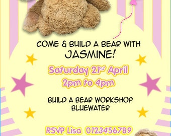 Printed Personalised Build a Bear Birthday Party Invitations X10