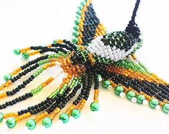 Malachite Crystal Healing Jungle Green and Gold Beaded Hummingbird Necklace