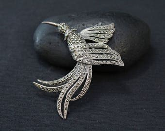 Sterling Silver and Marcasite Humming Bird Brooch, Humming Bird Pin, Sterling and Marcasite Pin, Sterling Bird Pin, Sterling Animal Brooch