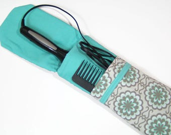 Insulated Curling Iron, Flat Iron, Hair Iron Travel Case in a Button Mums Print with a Spearmint Interior