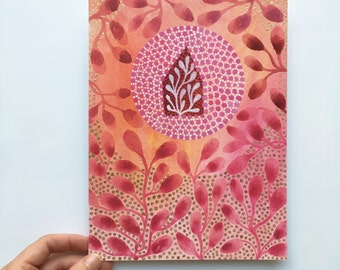 Original painting, gouache on art paper - Pink cocoon house - 24 x 18 cm - Protection, harmony, link to nature