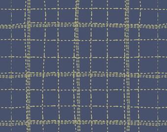 Mad Plaid by Art Gallery - Deep Sea Plaid - Cotton/Spandex Knit