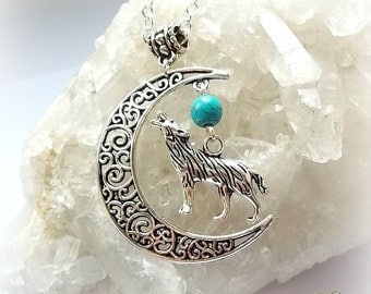 Moon & Wolf Pendant Necklace, Blue Moon, Turquoise, Crescent Moon, Silver Filigree, Boho Bohemian, Native, Pagan Shaman, Animal Totem Animal