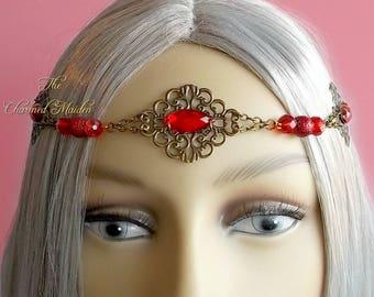 Red & Bronze Renaissance Headpiece, Medieval Circlet, Red Wedding Tiara, Regency Headdress, Victorian Headpiece, Edardian Circlet,Bridesmaid