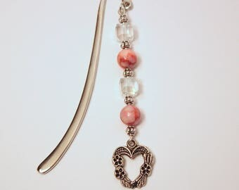 Heart Charm Bookmark Pink Bookmark Crystal Bookmark Love to Read Gift Heart Bookmark Shepherds Hook Bookmark