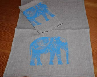 100% Linen Screen Printed Tea towel