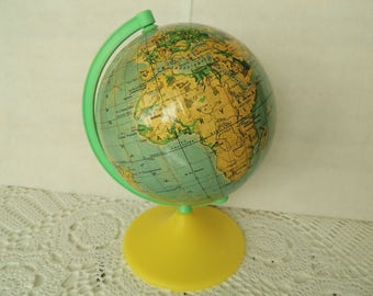 Vintage World Globe, School Globe, Vintage Home Decor Decoration Ornament, Collectibles