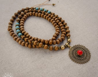Mala Necklace | 108 Prayer Beads | Japa Mala | Wood Mala | Buddhist Mala | Gemstone Pendant | Yoga Necklace | Meditation Necklace