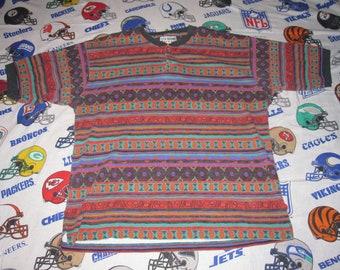 1990s club newport African Tribal Tee - sz xl - vintage cross colors gap boxy 90s style
