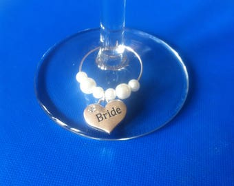 Wedding FAVOUR Table Decorations - WEDDING PARTY - Wine/Champagne Glass Marker Charms or place marker